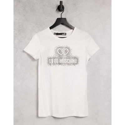 モスキーノ Love Moschino レディース Tシャツ トップス maglietta core logo t-shirt in white オプティカルホワイト