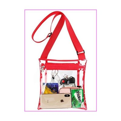 HULISEN Clear Crossbody Purse Bag, Stadium Approved Bag with Extra Inside Pocket and Adjustable Shoulder Strap for Work, School, Concert, Sp