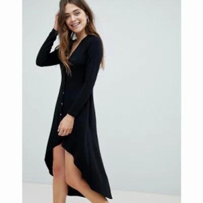 エイソス ワンピース button through midi dress with dip hem Black