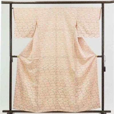 リサイクル着物 小紋 正絹ピンク扇面柄袷小紋着物