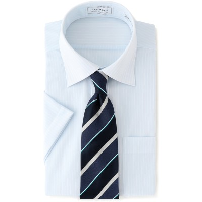 ワイドカラー ニット 半袖シャツ ノンアイロンクール レギュラーフィット LES MUES