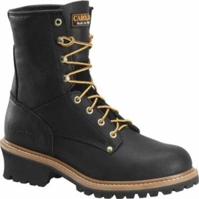 カロリナ Carolina メンズ ブーツ シューズ・靴 8 Plain Toe Logger Steel Toe Boot CA1825 Black Full Grain Leather
