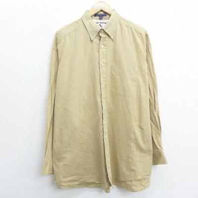 XL/古着 長袖 ブランド シャツ トミーヒルフィガー TOMMY HILFIGER 大きいサイズ コットン ボタンダウン ベージュ カーキ ストライプ 20sep28 中古 メンズ トッ