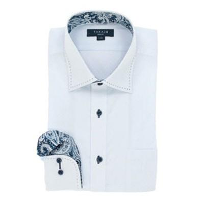 形態安定スリムフィット ワイドカラーハンドステッチ長袖ビジネスドレスシャツ/ワイシャツ