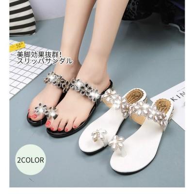 サンダル レディース 履きやすい ミュール ウェッジサンダル ラインストーン ビジュー ウェッジソール サンダル トング ファッション 靴 婦人靴 厚底サンダル