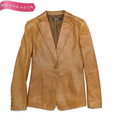 DKNY ダナキャラン テーラードジャケット 2 ブラウン シープスキン レザー \期間限定 特別セール/19js92