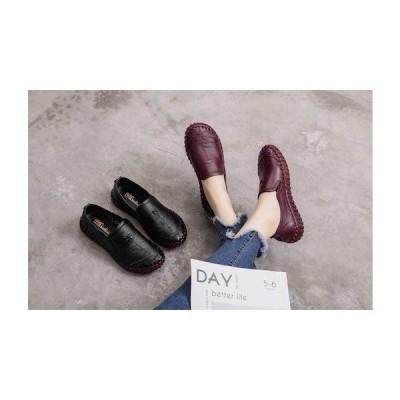 パンプス レディース コンフォートパンプス ローヒール パンプス 革靴 べたんこ 牛革 履きやすい 痛くない 柔らかい 40代 50代 60代 70代二枚送料無料