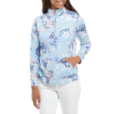 キム ロジャース レディース パーカー・スウェット アウター Petite Long Sleeve 1/4 Zip Floral Pullover