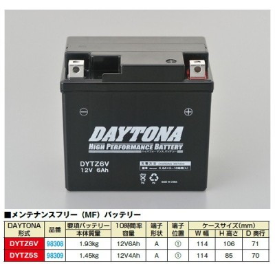 【○在庫あり→10月27日出荷】デイトナ ハイパフォーマンスバッテリー DYTZ6V 電解液注入済  98308