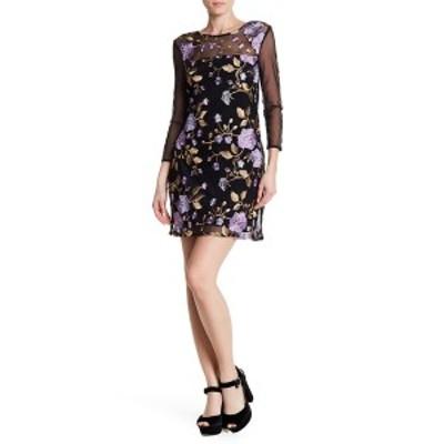 ビービーダコタ レディース ワンピース トップス Jaelyn Mesh Floral Embroidery Dress BLACK