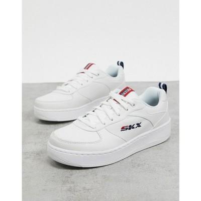 スケッチャーズ Skechers レディース スニーカー シューズ・靴 Sport Court Trainers In White ホワイト