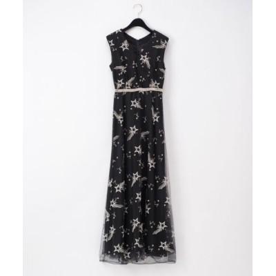 GRACE CONTINENTAL/グレースコンチネンタル チュール刺繍ビジュードレス ブラック 38