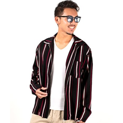 (LUXSTYLE/ラグスタイル)ストライプジップジャケット/ジャケット メンズ ジャケット ライトアウター ストライプ 秋 春/メンズ ブラック