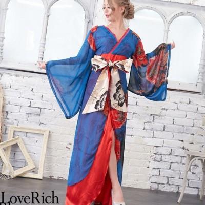Love Rich シフォンパネル柄ロング着物ドレス 衣装 花魁 キャバドレス ブルー コスプレ セクシー 花魁 着物 浴衣 キャバ ギャル ナイトドレス コスチューム