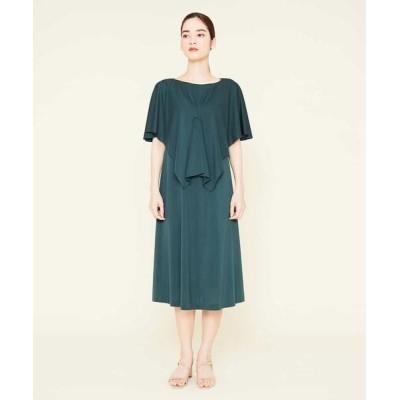 Sybilla/シビラ タックデザインケープスリーブドレス グリーン 36