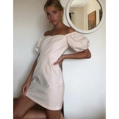ニュールック レディース ワンピース トップス New Look puff sleeve denim mini dress in ecru Cream