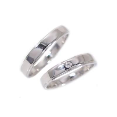 ダイヤモンド ホワイトゴールド ペアリング 結婚指輪 マリッジリング ペア 2本セット K10wg 指輪 ダイヤ 0.02ct 平打ち ストレートライン ストレート カップル
