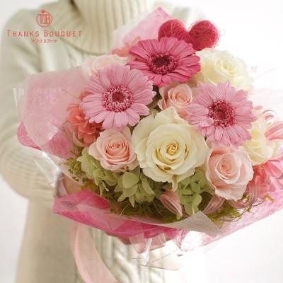 退職祝い 花束 両親贈呈品 プレゼント  お礼  プリザーブドフラワー  クリアケース入り 結婚式   ブーケと電報サービス 「立てて飾れる花束」