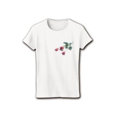 赤い薔薇 リブクルーネックTシャツ (ホワイト)