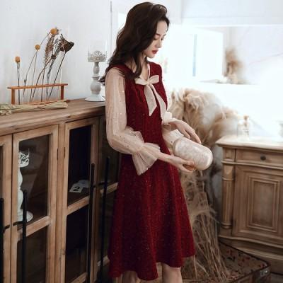イブニングドレス パーティードレス 安い 可愛い ドレス 結婚式 披露宴 2次会 パーティ ミディドレス マタニティ-ー 妊婦