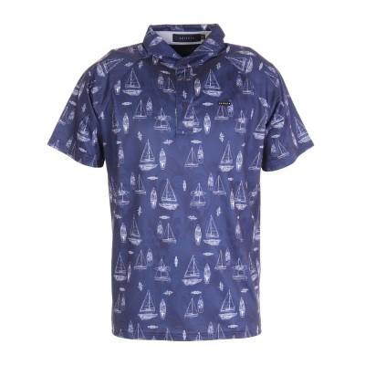 エピキュールシャツプリントポロシャツ 151-24343-098ネイビー