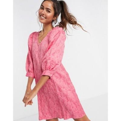 ヴェロモーダ レディース ワンピース トップス Vero Moda textured smock mini dress with puff sleeves in pink