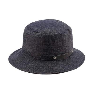 (井上帽子) 越後片貝木綿・デニムハット 日本製 ( メンズ 帽子 ハット 木綿 たためる 丸める 片貝木綿 日本製 JAPAN(ネイビー M)