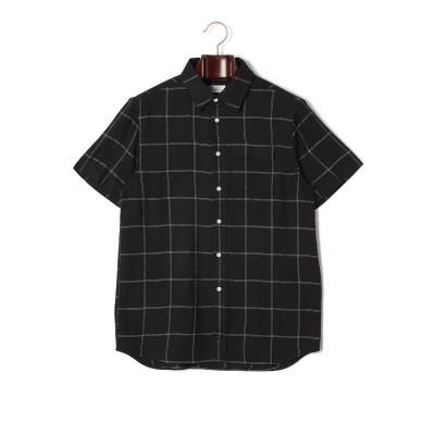 LASZLO ウィンドーペン 半袖シャツ ブラック s