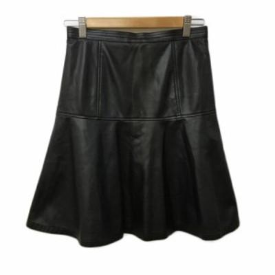 【中古】アンタイトル UNTITLED スカート フレア マーメイド ひざ丈 合成皮革 無地 2 黒 ブラック レディース