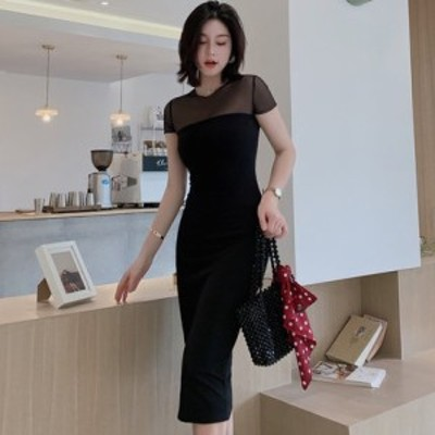 パーティードレス セットドレス シースルー メッシュ切替 タイトワンピース  綺麗め 20代 30代 結婚式 お呼ばれ