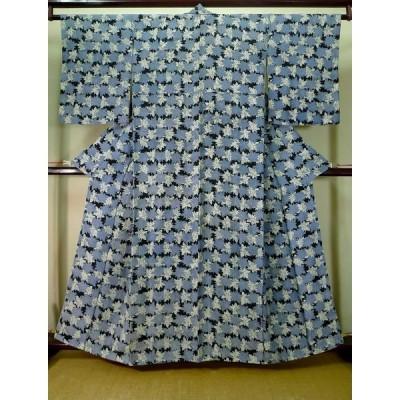 着物 小紋 女性用 和服  シルク(正絹) スモーキーな  水色, 葉 【中古】 【USED】 【リサイクル】 ★★★☆☆ J1021M