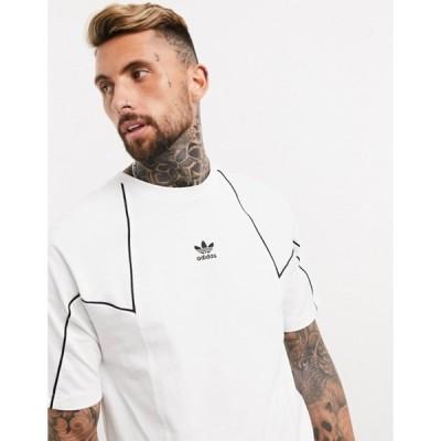アディダス メンズ シャツ トップス adidas Originals premium t-shirt with panels in white