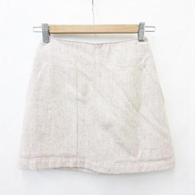 【中古】未使用品 マウジー moussy 台形スカート ミニ丈 裏地付 ウール ピンク 0 レディース