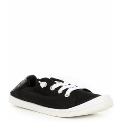 ロキシー レディース スニーカー シューズ Bayshore III Canvas Stripe Heel Detail Slip-On Sneakers Black/Anthracite