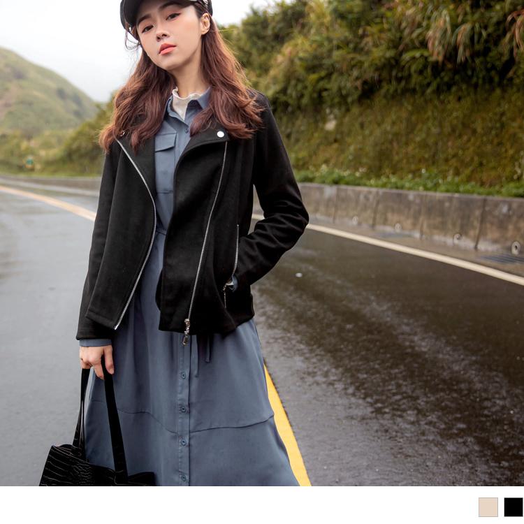 磨毛麂皮翻領拉鍊修身長袖機車外套