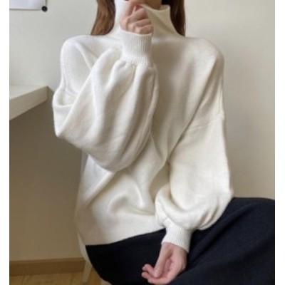 韓国 ファッション レディース ニット セーター トップス ボリューム袖 ハイネック 起毛 長袖 ゆったり 無地 カジュアル 秋冬