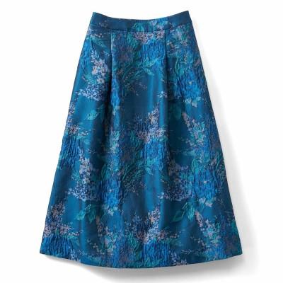 一点投入で着映えする ミドル丈ジャカードスカート〈ブルー〉 IEDIT[イディット] フェリシモ FELISSIMO