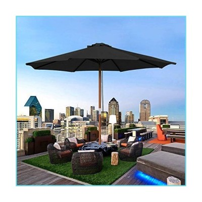 Yescom 9 Ft Wooden Patio Umbrella 8 Ribs Table Parasol Rope Pulley Outdoor Backyard【並行輸入品】