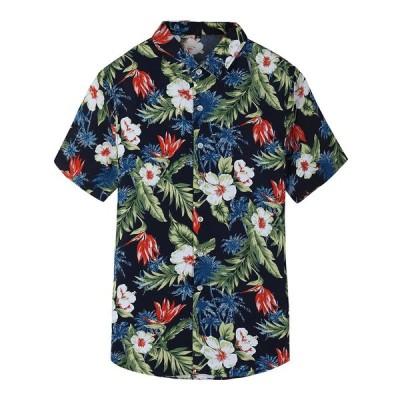 シャツ カジュアルシャツ メンズ アロハシャツ シャツ 薄手 花柄 半袖  シャツ オシャレ  カジュアル 通学 シンプル  個性 夏