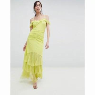 エイソス ワンピース cami dobby bardot ruffle fishtail maxi dress Lime
