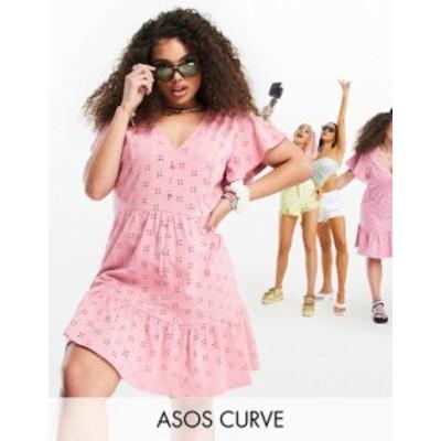 エイソス レディース ワンピース トップス ASOS DESIGN Curve eyelet v neck button through mini dress with peplum hem in rose Rose
