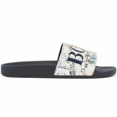 BOSS ボス ファッション サンダル Hugo Boss Mens Graphic Rubber Slip On Beach Pool Solar Slides Sandals 50388496