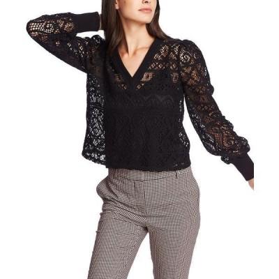 ワンステイト カットソー トップス レディース Knit Lace Top Rich Black