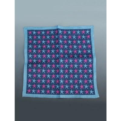 フェルッチ ミラノ FERRUCCI 22-STELLE ブルー系 スターデザイン リネンチーフ ポケットチーフ ネクタイのカラーと合わせたい胸元のオシャレ メンズ Men's