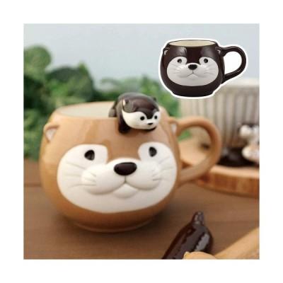 マグカップ カワウソマグ チョコ ラテ DECOLE デコレ KW-92511 KW-92512 かわうそ 動物 マグカップ マグ 陶器 コップ マグカップ タンブラー おしゃれ
