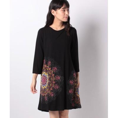 【デシグアル】 WOMAN KNIT DRESS 3/4 SLEEVE レディース ブラック系 M Desigual