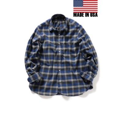 SHIPS×IKE BEHAR: アメリカ製 ブルーチェック ラウンドカラー ネルシャツ