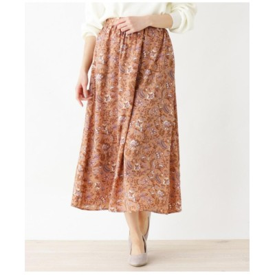 【手洗いOK】更紗プリントフレアロングスカート