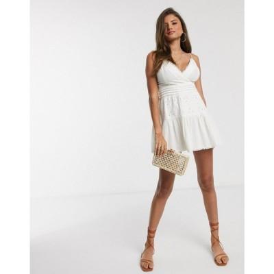 エイソス ASOS DESIGN レディース ワンピース サンドレス ミニ丈 ワンピース・ドレス lace insert cami wrap mini sundress in white ホワイト