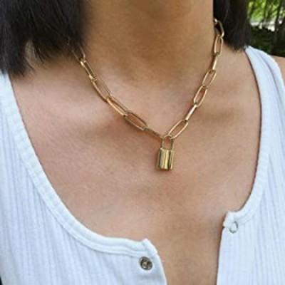 YERTTER Women Dainty Unique Punk Layering Chain Choker Necklace Boho Jewelry Set Layered Lock Pendant Statement Chunky Chain Nec